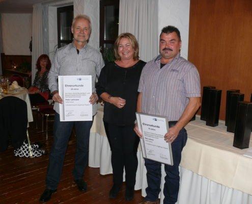 Jubilare HERBST Baustoffe v.li. Herr Lehmann, Frau Steinbock & Herr Lorenz